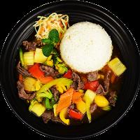 Com Bo Xao Rau - Restované Hovězí se  Zeleninou, Rýže