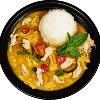 Com Ga Xao Rau Ca Ri - Kuřecí Kari se Zeleninou, Rýže