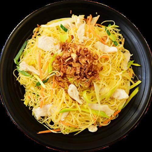Bun Xao Ga - Smažené Rýžové Nudle s  Kuřecím masem