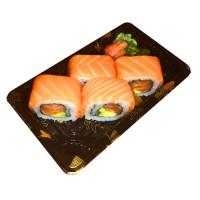 535. California 4ks: Losos a avokádo obalené rýží a plátky lososa